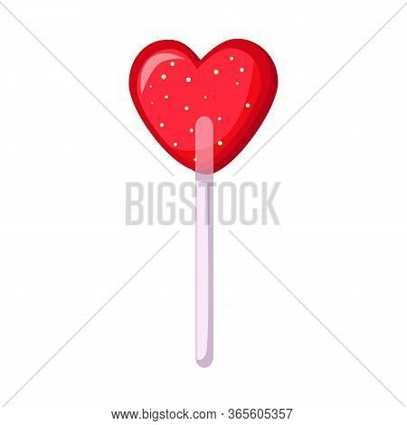 Isolated Object Of Lollipop And Heart Symbol. Web Element Of Lollipop And Sweet Stock Vector Illustr