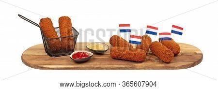 Brown Crusty Dutch Kroketten On A Serving Tray Isolated On A White Background