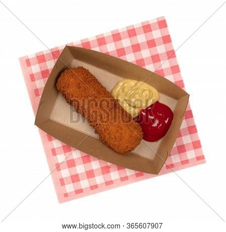 Brown Crusty Dutch Kroket With Mustard And Ketchup Isolated On A White Background