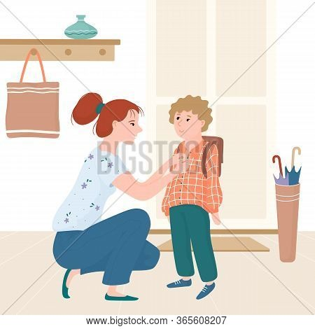 Young Mother Seeing Her Kid, Little Boy Off For School, Getting Him Ready Near Entrance Door, Flat C