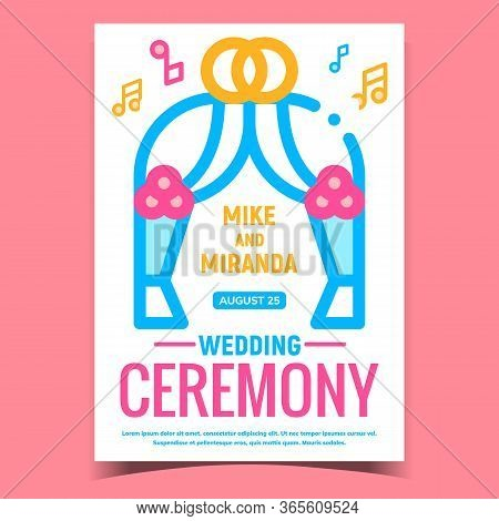 Wedding Ceremony Creative Advertise Banner Vector. Ceremony Festival Arch Decorated Rings And Flower