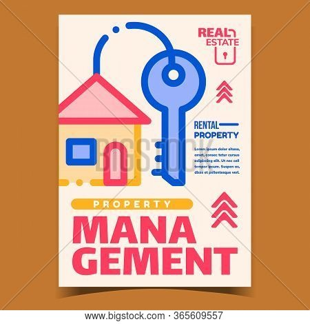 Property Management Bright Advertise Banner Vector. House Key And Pendant In Building Construction S