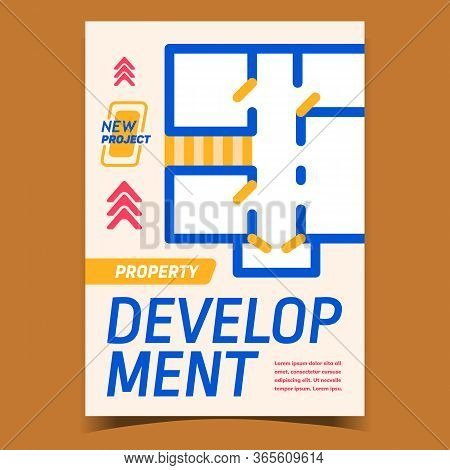 Property Development Advertising Banner Vector. Architect Engineering Design Work Property Planning,