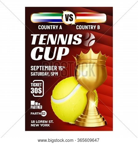 Tennis Champion Win Cup Bright Flyer Banner Vector. Tennis Ball And Gold Metal World Cup For Player