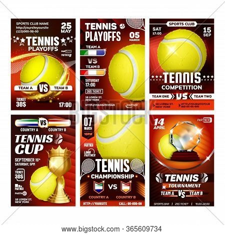 Tennis Sportive Promo Cards Posters Set Vector. Yellow Ball, Racket And Golden Goblet, International