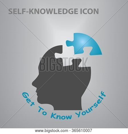 Silhouette Of Puzzle Head Of Man Showing Get To Know Yourself Concept Illustration .