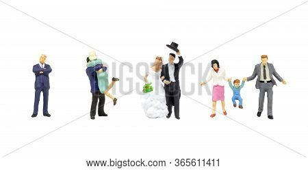Happy Family Concept : Life Cycle Of Miniature People As Businessman, Lovers, Bride With Groom And H