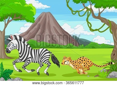 Vector Illustration Ofthe Cheetah Is Chasing A Zebra In An African Savanna