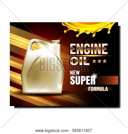 Automobile Repair Service Advertise Banner Vector. Car Engine Lubrication Oil Blank Bottle On Promot