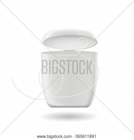 Dental Floss Hygiene Tool For Teeth Box Vector. Blank Container With Floss Cord Of Thin Filaments Us