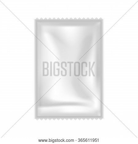 Shampoo, Conditioner Or Gel Sachet Packet Vector. Blank Clear Airtight Small Bag Packet For Hygiene