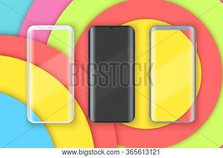 Smartphone Layout Presentation Mockup On Art Color Background. Example Frameless Model Mobile Phone