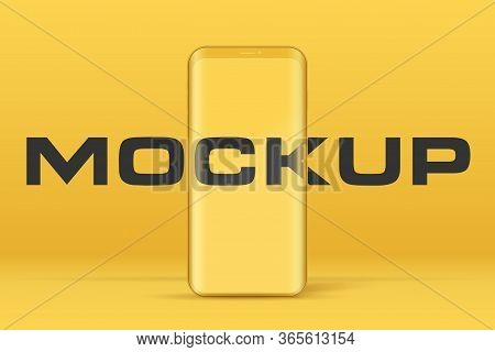 Smartphone Layout Presentation Mockup In Yellow Color. Example Frameless Model Smartphone With Touch