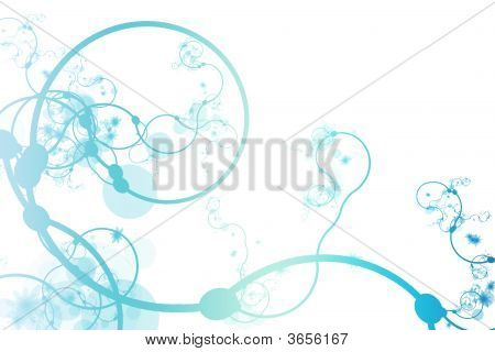 Blue Abstract Curving Line Vines in White Background poster