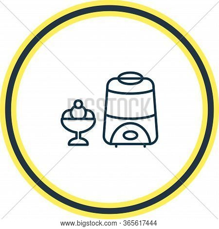 Vector Illustration Of Ice Cream Maker Icon Line. Beautiful Kitchenware Element Also Can Be Used As