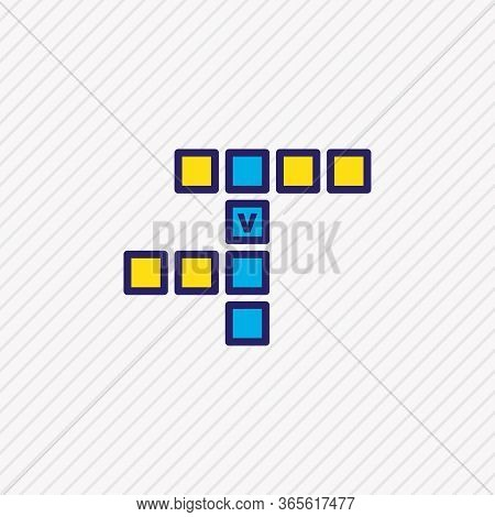 Vector Illustration Of Crossword Icon Colored Line. Beautiful Activities Element Also Can Be Used As