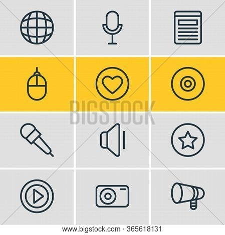 Illustration Of 12 Music Icons Line Style. Editable Set Of Video, Bullhorn, Mike And Other Icon Elem