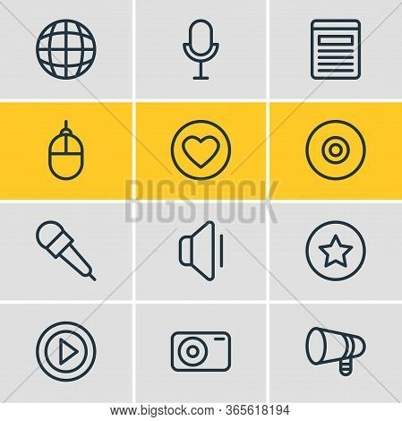 Vector Illustration Of 12 Media Icons Line Style. Editable Set Of Video, Bullhorn, Mike And Other Ic