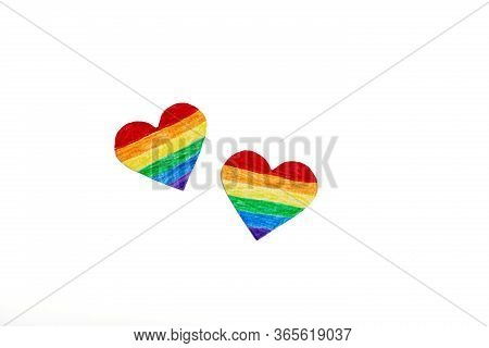 Mockup Made With The Lgbt Pride Flag With The Heart Coloured In Lgbtq Pride Colours. Concept Of The