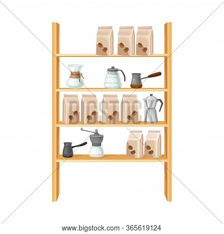 Coffee Glass Brewer And Jezve With Paper Bags On Wooden Shelves Vector Illustration
