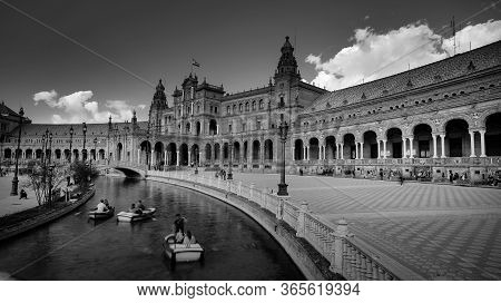 Seville, Spain - 10 February 2020 :black And White Photography Of Plaza De Espana Spain Square With