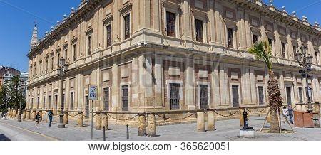 Sevilla, Spain - May 14, 2019: Panorama Of The Historic Archivo De Indias Building In Sevilla, Spain
