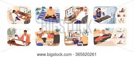 People Stay At Home. Men And Women Working, Doing Exercises And Yoga, Relax, Communicate With Family