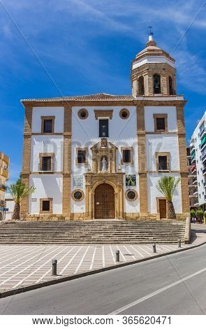 Ronda, Spain - May 16, 2019: Front View Of The Merced Church In Ronda, Spain