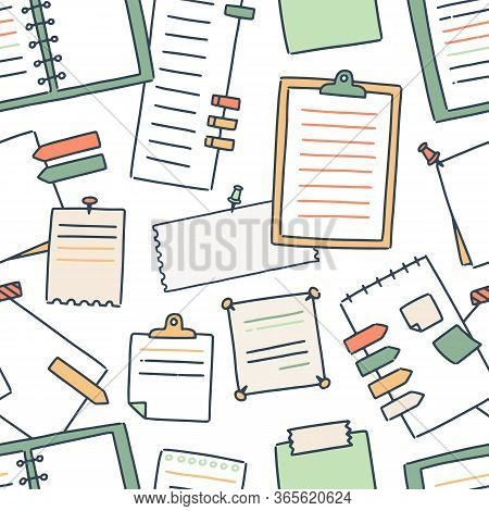 Various Notebooks And Paper Sheets For Making Writing Notes Seamless Pattern. Colorful Blanks Attach