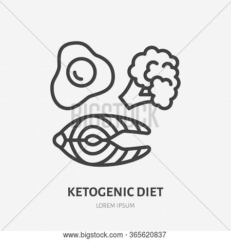 Keto Diet Line Icon, Vector Pictogram Of Ketogenic Food - Egg, Salmon, Broccoli. Healthy Eating Illu