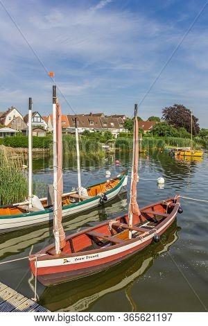 Schleswig, Germany - June 25, 2019: Little Sailing Boat In Holm Village Of Schleswig, Germany
