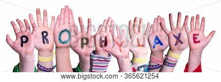 Children Hands Building Word Prophylaxe Means Prophylaxis, Isolated Background
