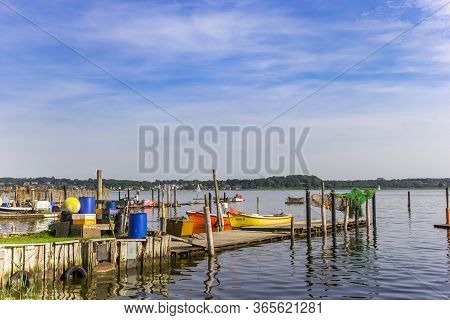 Schleswig, Germany - June 25, 2019: Panorama Of Colorful Fishing Boats At The Jetty In Holm Village