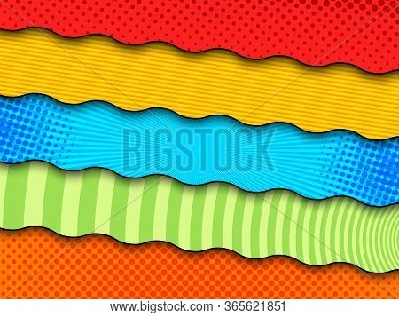 Comic Colorful Banners With Different Bright Patterns And Wavy Dividing Lines. Vector Illustration