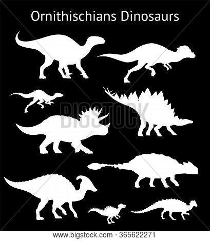 Silhouettes Of Ornithischian Dinosaurs. Set. Side View. Monochrome Vector Illustration Of White Sten