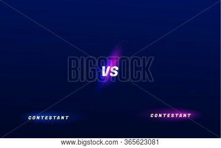 Versus Neon Background. Sport Competition Vs Poster, Game Fight Battle Duel Concept, Blue Red Team D