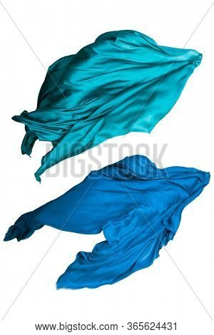 abstract teal fabric in motion