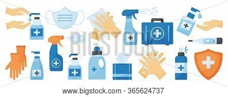 Disinfection. Ppe Icon. Hand Hygiene. Set Of Hand Sanitizer Bottles, Medical Mask, Washing Gel, Spra