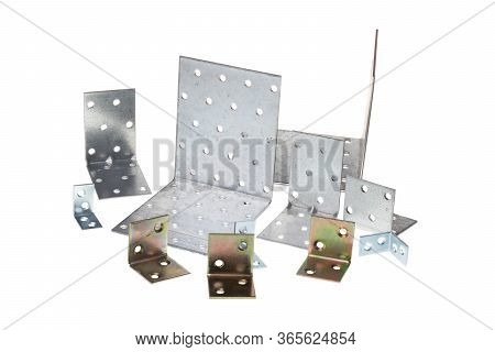 Set Of Different Metal Alloy 90 Degree Angle Fixating Bracket, Isolated On White Background