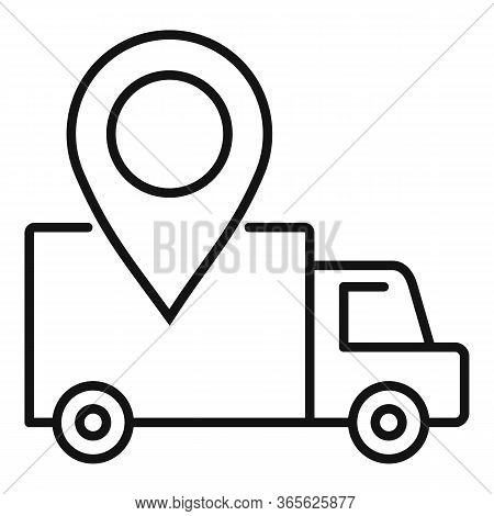 Relocation Gps Pin Truck Icon. Outline Relocation Gps Pin Truck Vector Icon For Web Design Isolated