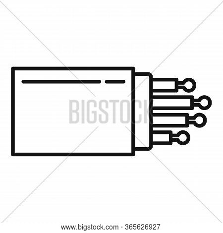 Optical Fiber Port Icon. Outline Optical Fiber Port Vector Icon For Web Design Isolated On White Bac