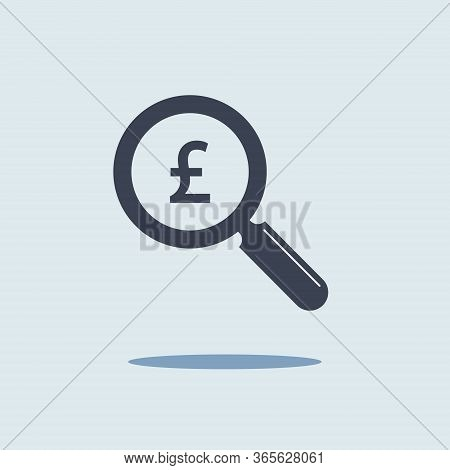Magnifying Glass And Sign Of Gbp Pound Sterling. Finance Symbol