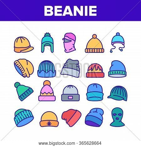 Beanie Seasonal Hat Collection Icons Set Vector. Beanie Cap And Head Facial Mask Season Clothing Acc
