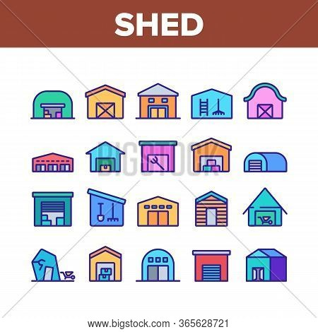 Shed Construction Collection Icons Set Vector. Shed Building For Storaging Pitchfork And Rake, Shove