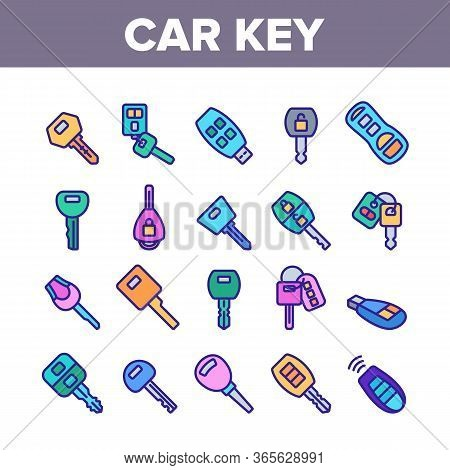 Car Key Equipment Collection Icons Set Vector. Car Key Device Different Style, With Buttons And Trin