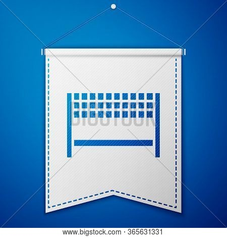 Blue Ribbon In Finishing Line Icon Isolated On Blue Background. Symbol Of Finish Line. Sport Symbol