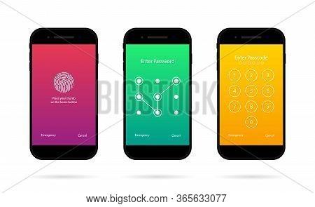 Phone Screen With Lock. Mobile Password, Passcode. Ui In Smartphone For Security. Unlock Code In Cel