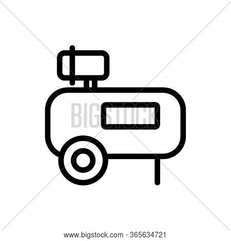 Reciprocating Portable Compressor Icon Vector. Reciprocating Portable Compressor Sign. Isolated Cont