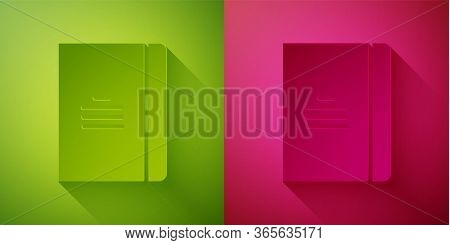 Paper Cut Notebook Icon Isolated On Green And Pink Background. Spiral Notepad Icon. School Notebook.