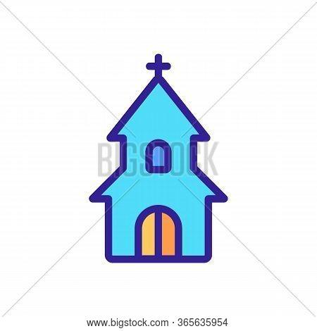 Entrance To Christian Church Icon Vector. Entrance To Christian Church Sign. Color Symbol Illustrati